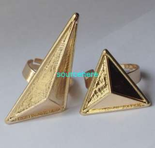 Womens Punk Ring Spike Gold Tone Triangle Double Fingers Rings Cool