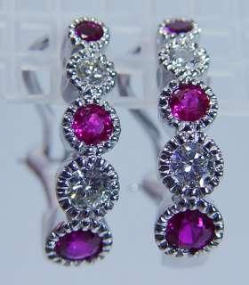 Estate Jewelry 14K White Gold High Grade Ruby Diamond Earrings