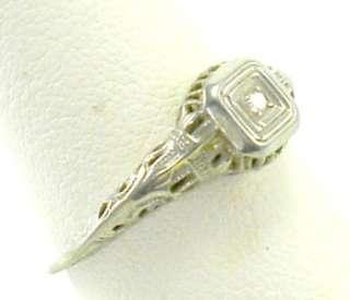 Antique Deco Diamond 18K White Gold Vintage Engagement Ring Old 6 1/2