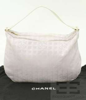 Chanel Pink & White Monogram Checkered Travel Ligne Large Hobo Bag