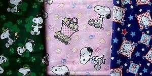 Snoopy Easter Patriotic St Patrick Print Cotton Fabric Remnants
