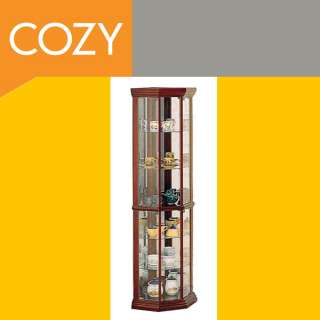 Cherry Wood & Glass China Display Corner Curio Cabinet