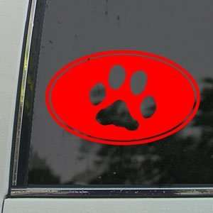 Dog Paw Print Euro Ovel Red Decal Truck Window Red Sticker