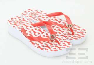Tory Burch Red & White Lobster Print Wedge Flip Flops Size 9