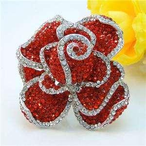 Floral Rose Cocktail Ring Sz Free Red Swarovski Crystal