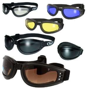 Mach 3 Airfoil Matte Black Foldable Motorcycle Goggles Various Lens