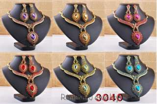 Wholesale 6sets exquisite rhinestone alloy necklace earrings gold
