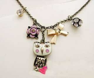 Lovely vtg Owl Pink Flower Gold tone Bow Pendant themed biker gothic