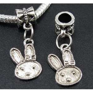 Silver Rabbit Dangle Charm Bead for Bracelet or Necklace