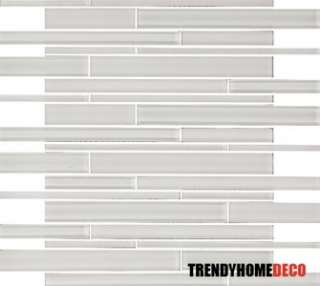 SAMPLE  Snow White Random Subway Glass Mosaic Tile Kitchen Backsplash