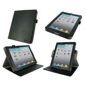 rooCASE Dual Axis (Black) Leather Folio Case Cover with 23