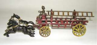 Rare Kenton Cast Iron Horse Drawn 316 Fire Ladder Wagon
