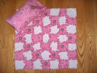 Baby Doll Rag Quilt & Pillow Set John Deere Fabric   American Girl or