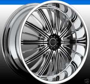 22 Elite RADE Wheel SET 5 & 6 Lug Chrome Black RIMS