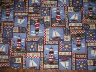 Handmade Quilted Table Runner Lighthouse boats beach nautical anchors