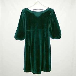 JUICY COUTURE Blue Green Empire Waist Velour Dress XL