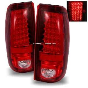 03 06 Chevy Silverado LED Tail Lights   Red Clear