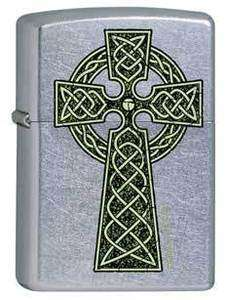 Zippo 9932 celtic cross street chrome Lighter FREE GIFT