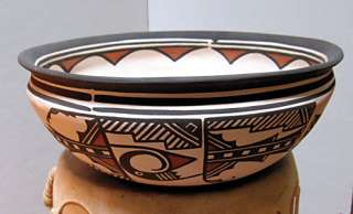 Zuni Pueblo Handmade Pottery Decorated Dough Bowl