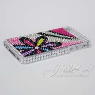 Colorful Flower design with Pink style bling case for Iphone4G 4S US