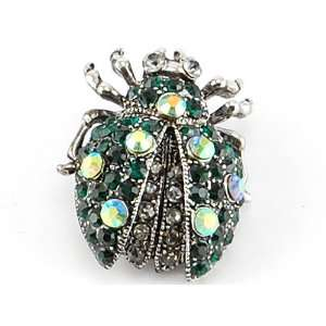 Green Crystal Rhinestone Ladybug Beetle Silver Tone Costume Brooch Pin