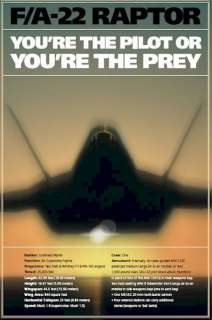 MILITARY POSTER ~ AIR FORCE F/A 22 RAPTOR THE PREY F 22