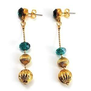 Gold Plated Emerald Green Crystal Drop Earrings Jewelry