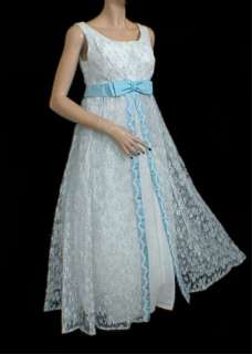 Vtg 60s White Blue Wedding Party Prom Maxi Dress S M