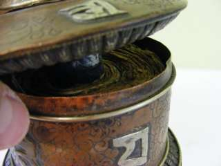 Old Antique Tibetan Buddhist Copper Prayer Wheel Barrel