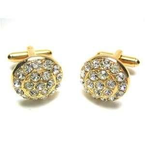 Gold Swarovski Crystal Encrusted Cufflinks Jewelry