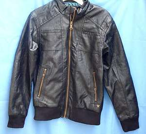 GUESS Black Pleather MOTORCYCLE Jacket w/Contrast Lining BOY sizes NWT