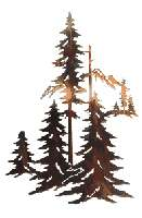 18H Pine Trees Forest Nature Wall Art~ Lazer Cut Metal
