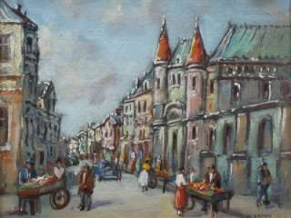IMPRESSIONIST LISTED SIGNED CITYSCAPE OIL PAINTING PARIS STREET