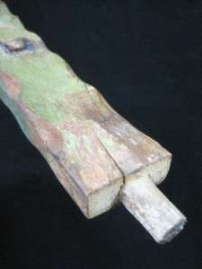 Early 18C FOLK ART FEMALE CARVED WOODEN POST W/ ORIG. GREEN PAINT AAFA