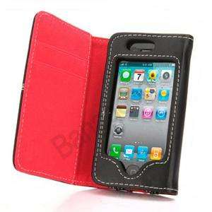 PU Leather Card Holder Pouch Wallet Case Cover For iPhone 4 4S 4G_RED