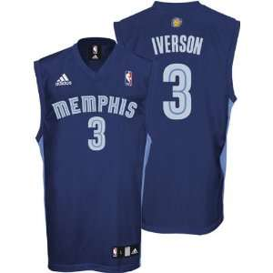 Allen Iverson Jersey: adidas Navy Replica #3 Memphis