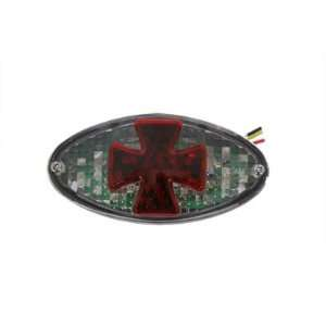 Clear Oval Tail Lamp with Red LED Maltese Cross  Frontiercycle (Free U
