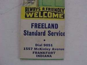 Frankfort,Indiana Freeland Standard Oil gas service station matchbook