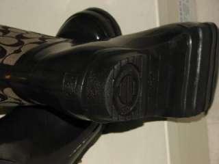 Coach Pearl Signature Rain Brown Boots For Women Sz 9M   NWT