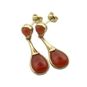 Red Jade Lady Drop Earrings, 14k Gold Jewelry