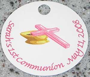20 Custom Pink Communion / Baptism Cross Favor Tags