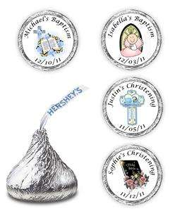 108 BAPTISM CHRISTENING COMMUNION KISSES CANDY LABELS FAVORS