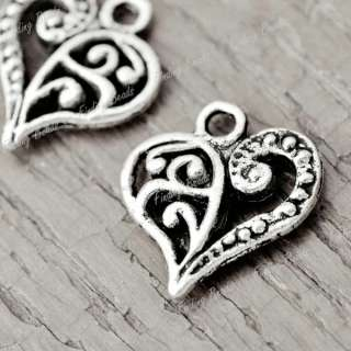 80Pcs Tibetan Silver Heart love Charms Pendants TS2090