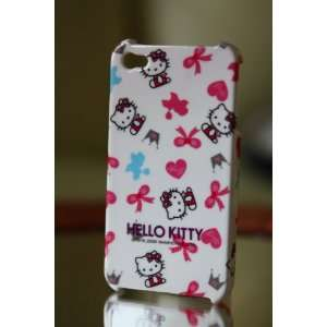 Ezmarket hello kitty white and pink ribbon pattern plastic