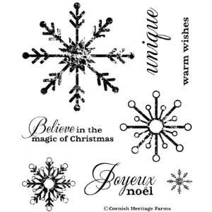 Joyeux Noel   Christmas Snowflakes Cling Mounted Red