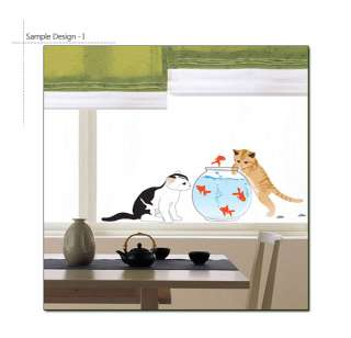 CAT & FISHBOWL WALL DECOR DECAL STICKER REMOVABLE VINYL