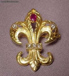 Antique Art Deco 18k Diamonds Ruby Fleur de lis Brooch