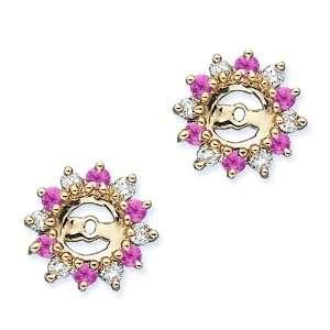 Alternating 3/8 ct. Pink Sapphire Earring Jackets Katarina Jewelry
