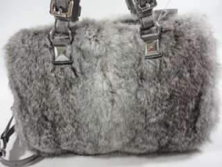 NWT MICHAEL KORS GRAYSON Flurry SILVER Lg Rabbit Fur SATCHEL Barrel