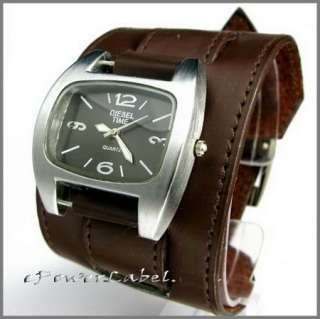 P187 Punk Steel WATCH Gothic White Leather Wristband